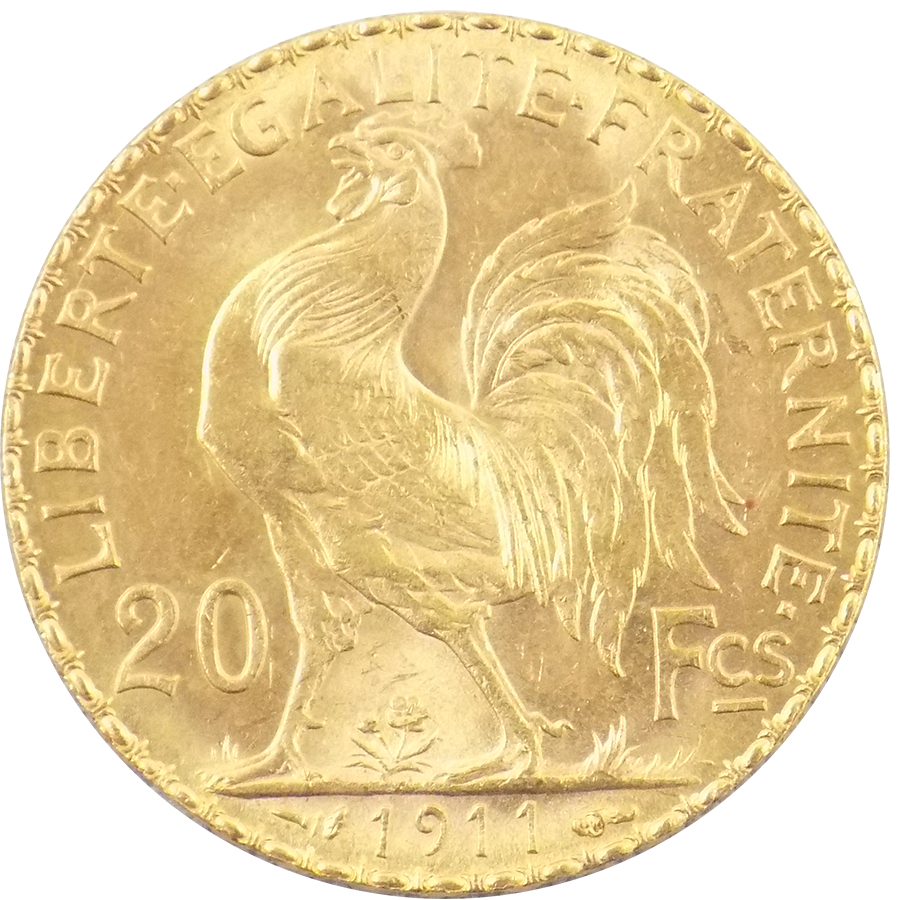 Pre-Owned 1911 French 20 Franc 'Rooster' Gold Coin