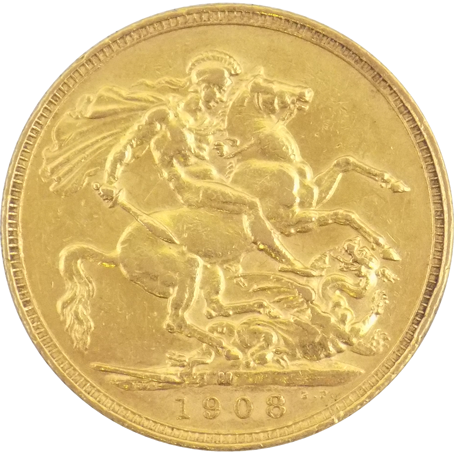 Pre-Owned 1908 Melbourne Mint Edward VII Full Sovereign Gold Coin (Image 2)