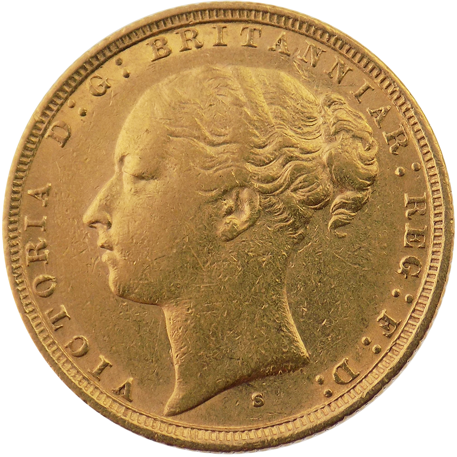 Pre-Owned 1884 Sydney Mint Victoria Young Head Full Sovereign Gold Coin (Image 1)