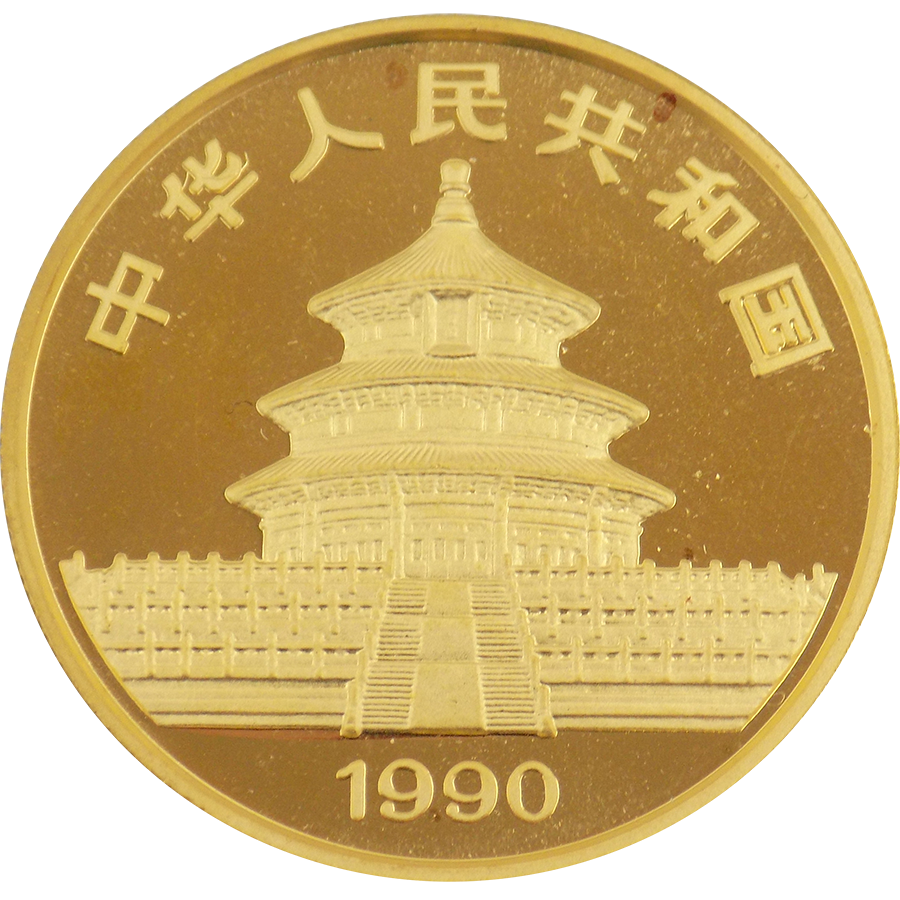 pre owned 1990 chinese panda 1oz gold coin free insured. Black Bedroom Furniture Sets. Home Design Ideas