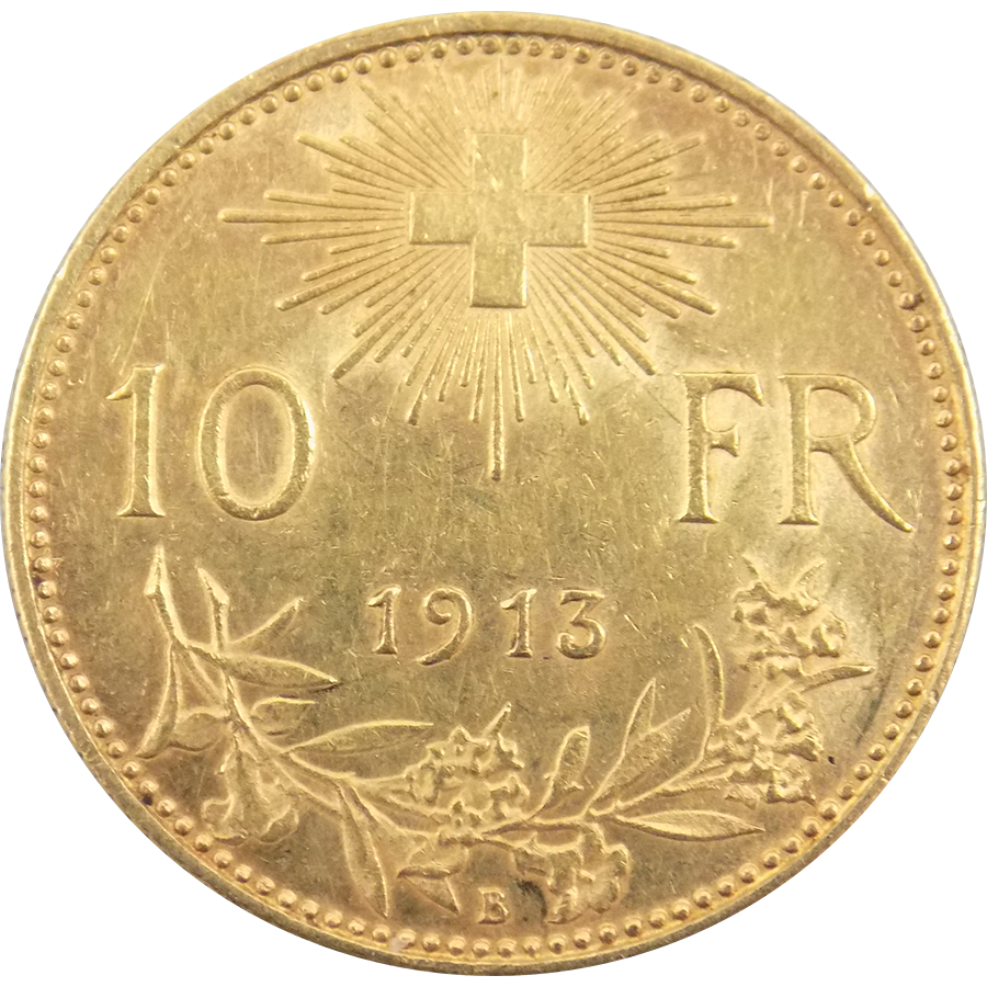 Pre Owned 1913 Swiss 10 Franc Helvetia Gold Coin Atkinsons