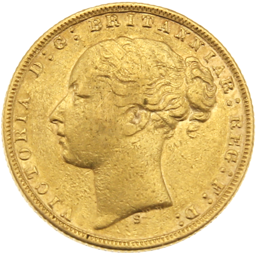 Pre-Owned 1874 Sydney Mint Victoria Young Head Full Sovereign Gold Coin