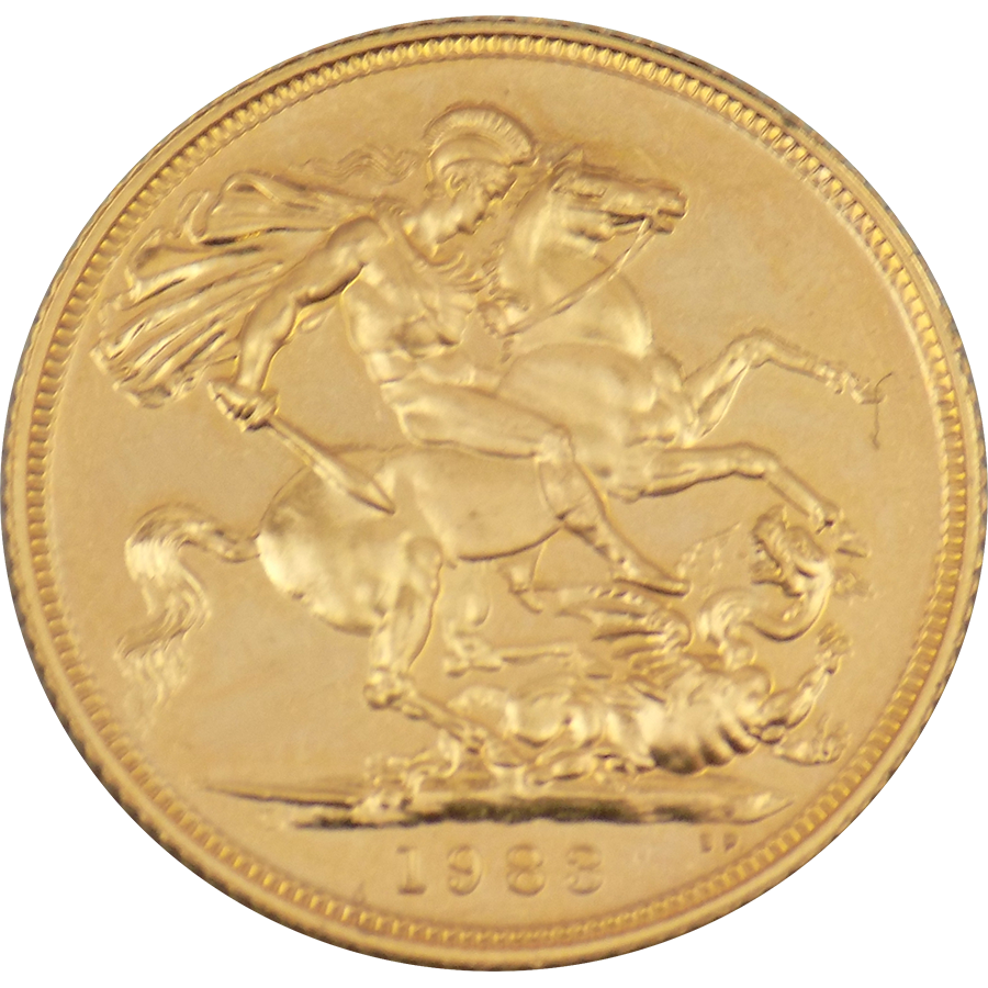 Pre-Owned 1983 UK Full Sovereign Gold Coin (Image 2)