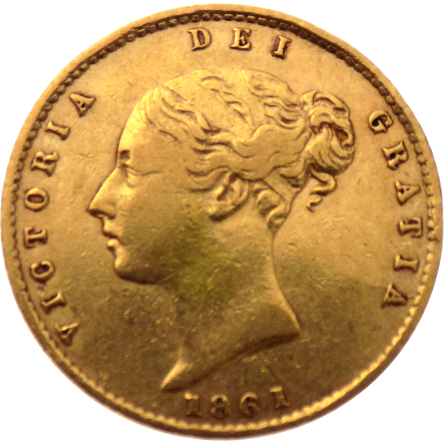 Pre-Owned 1861 London Mint Victorian 'Shield' Half Sovereign Gold Coin