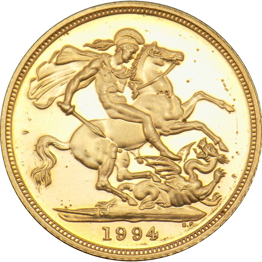 Pre-Owned 1994 UK Maklouf Head Full Sovereign Gold Coin (Image 2)