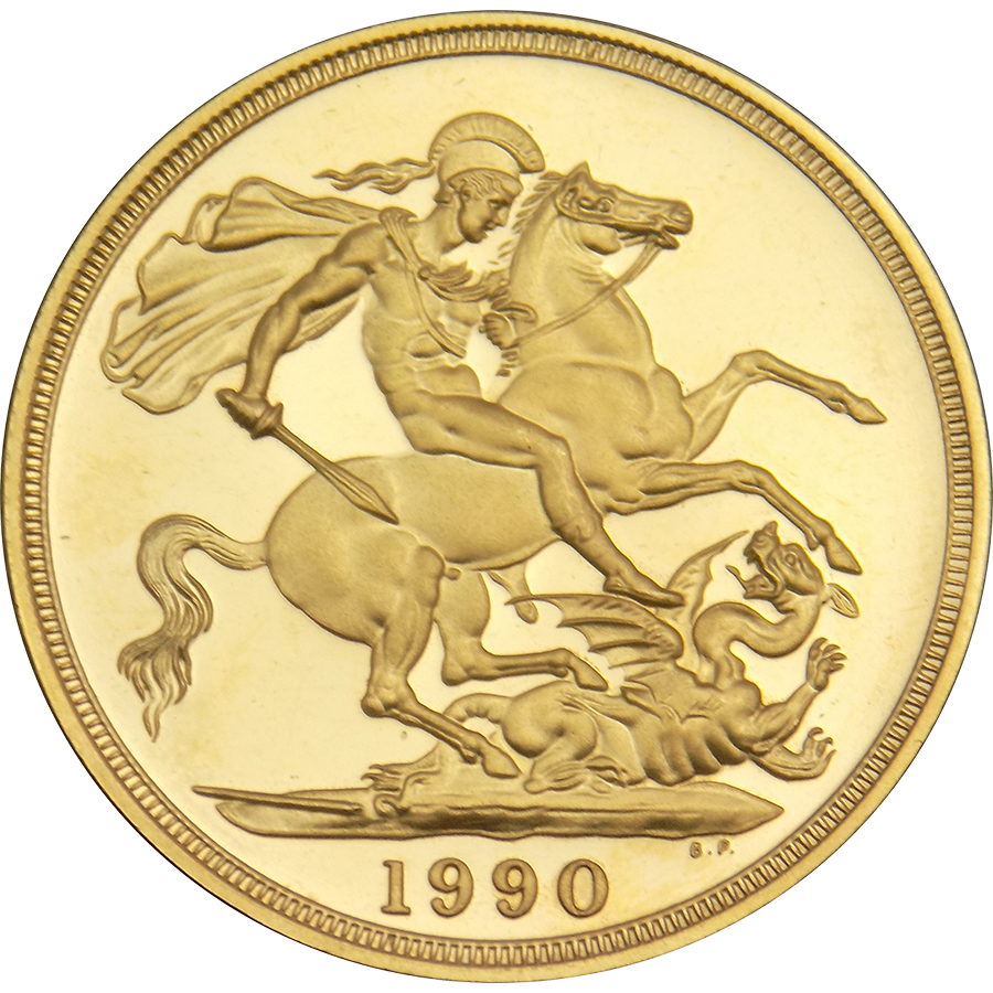 Pre-Owned 1990 UK Proof Design Double Sovereign Gold Coin