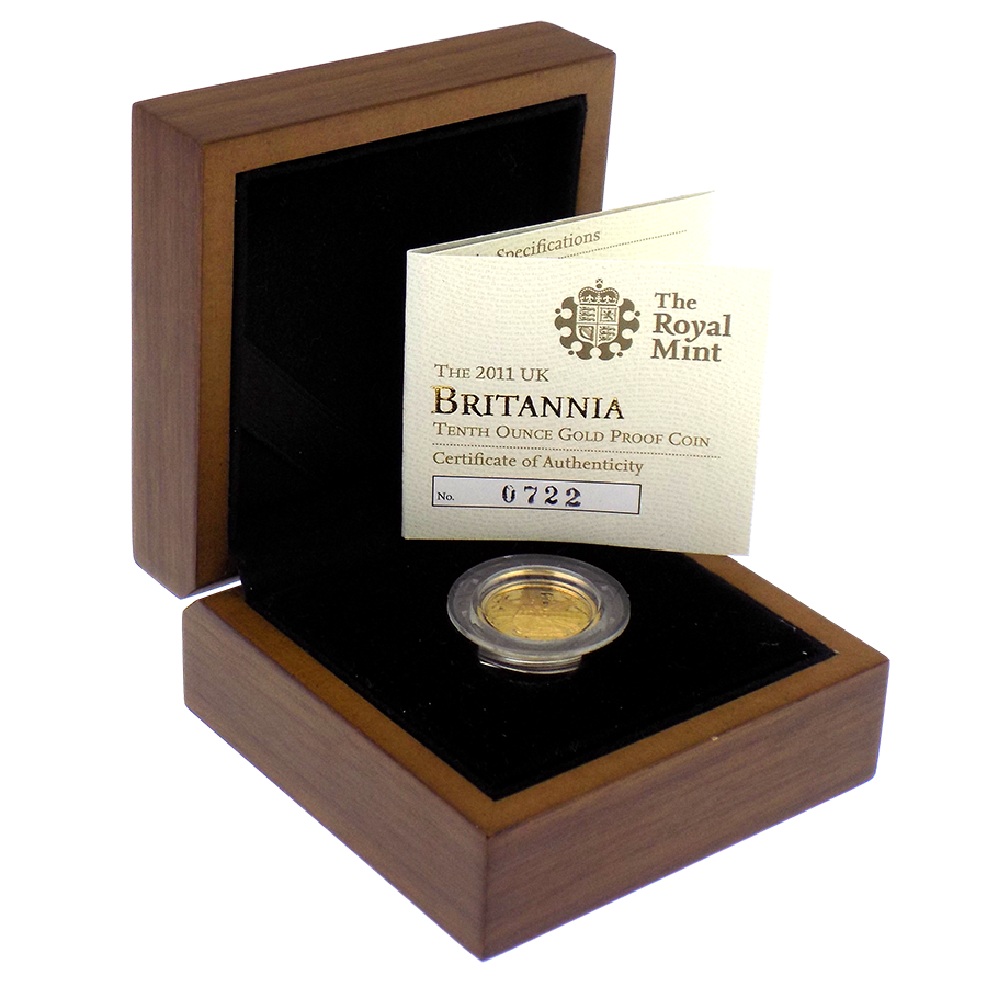 Pre-Owned 2011 UK Britannia 1/10oz Proof Gold Coin