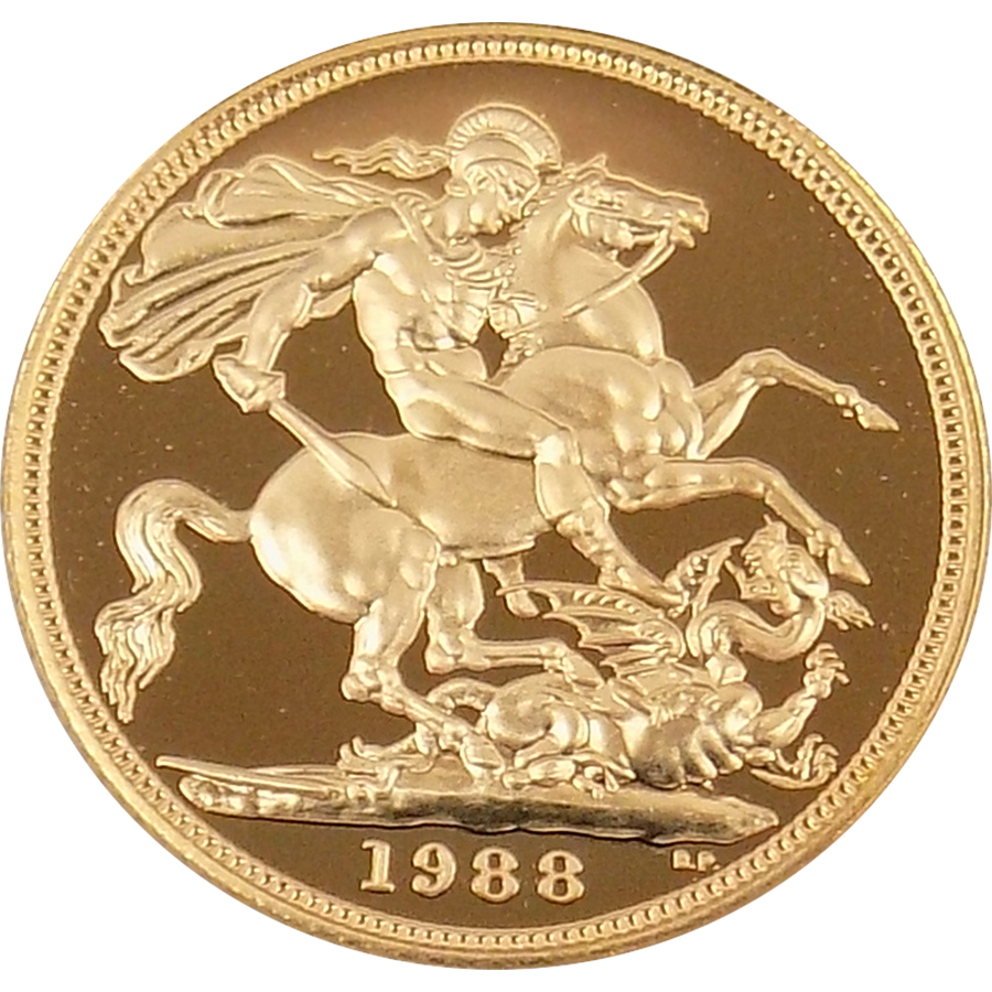 Pre-Owned 1988 UK Proof Design Full Sovereign Gold Coin