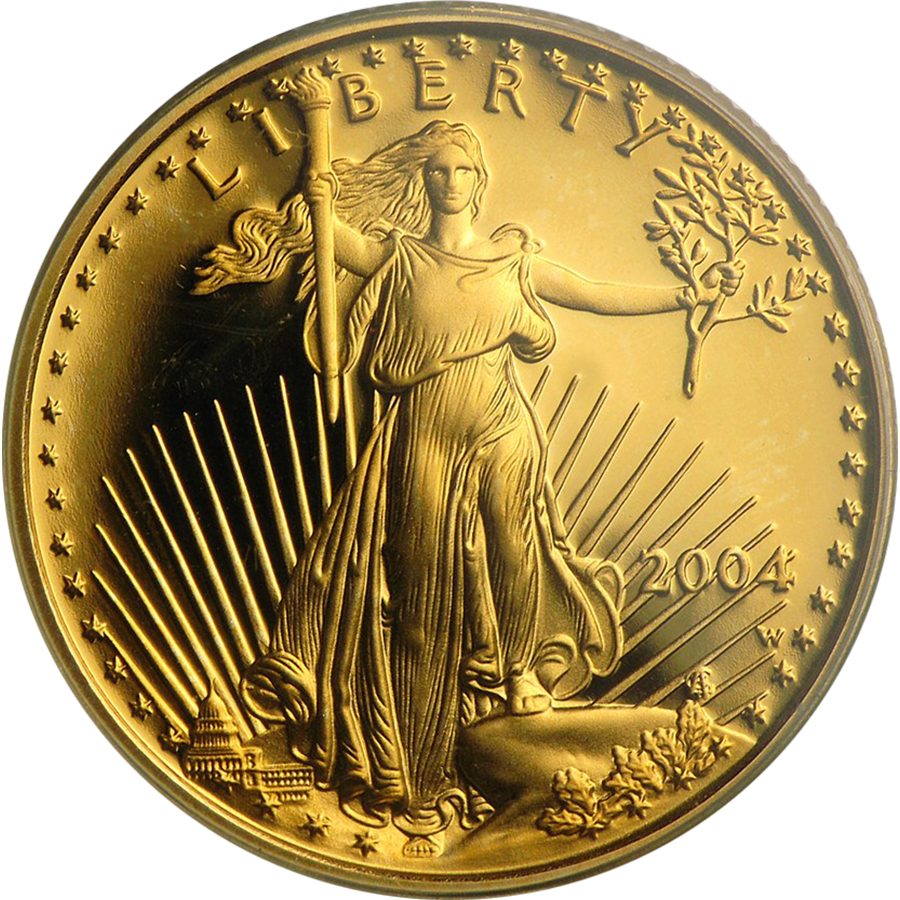 2004 Usa Liberty Eagle 1 4oz Proof Design Gold Coin Free
