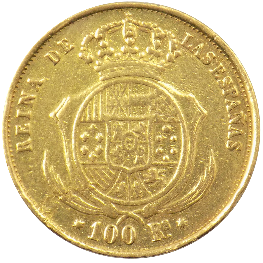Spanish 100 Reales Gold Coin Atkinsons