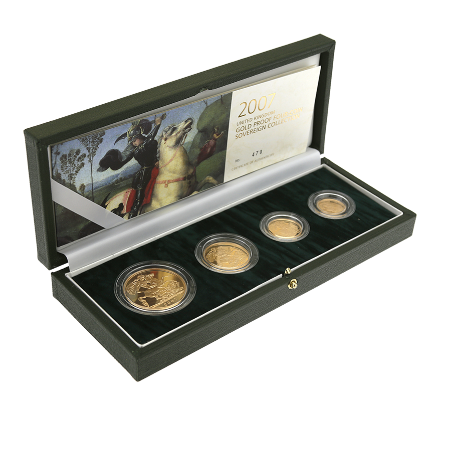 Pre-Owned 2007 UK Sovereign Gold Proof 4 Coin Set