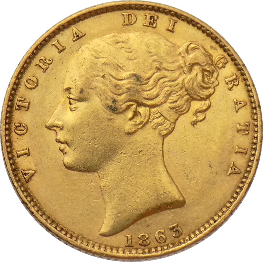 Pre-Owned 1863 London Mint DN.13 Victoria Young Head 'Shield' Full Sovereign Gold Coin