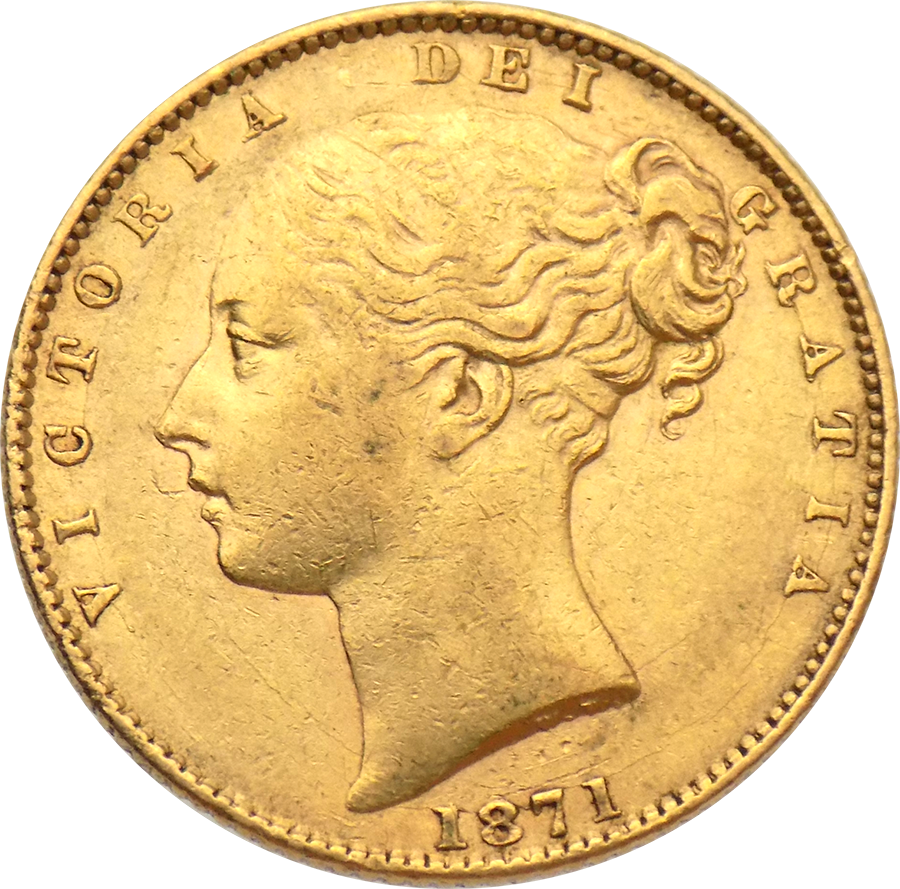 Pre-Owned 1871 London Mint DN.101 Victoria Young Head 'Shield' Full Sovereign Gold Coin