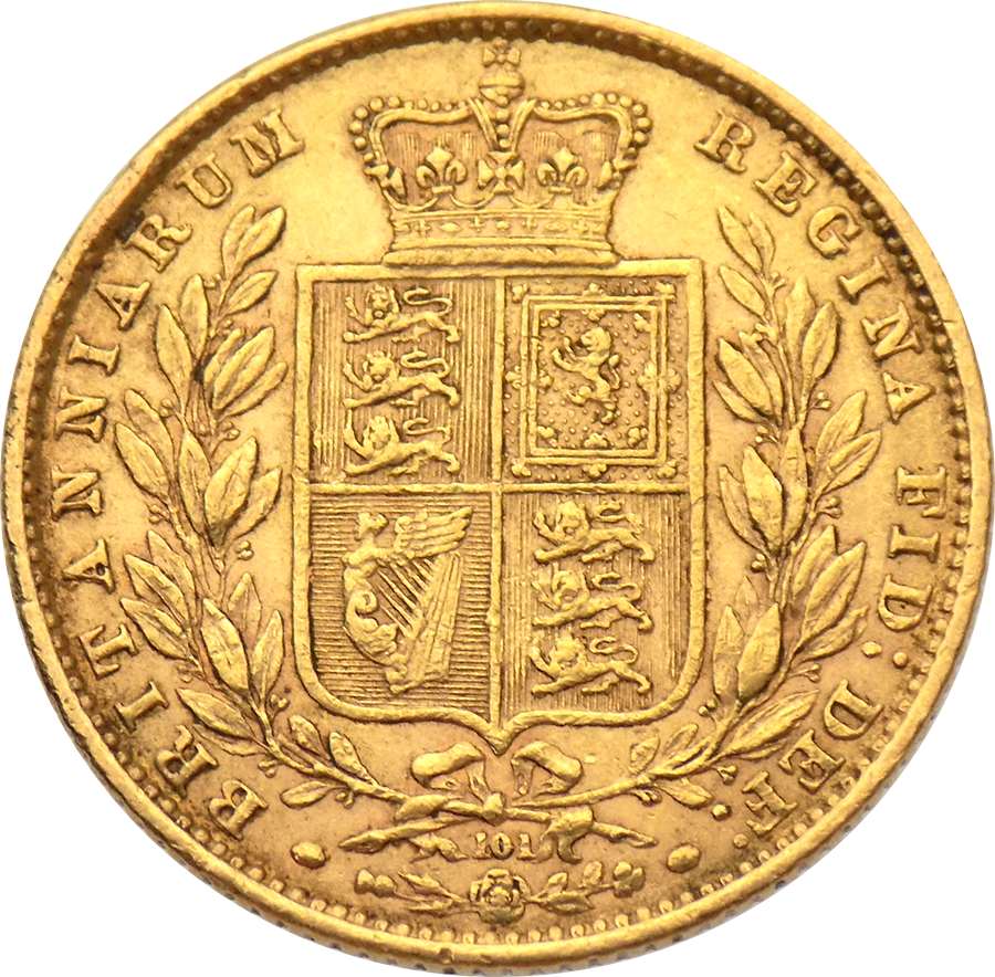Pre-Owned 1871 London Mint DN.101 Victoria Young Head 'Shield' Full Sovereign Gold Coin (Image 2)