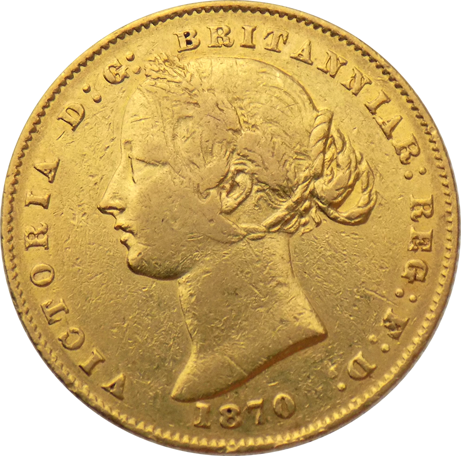 Pre-Owned 1870 Australian Mint Victoria Full Sovereign Gold Coin