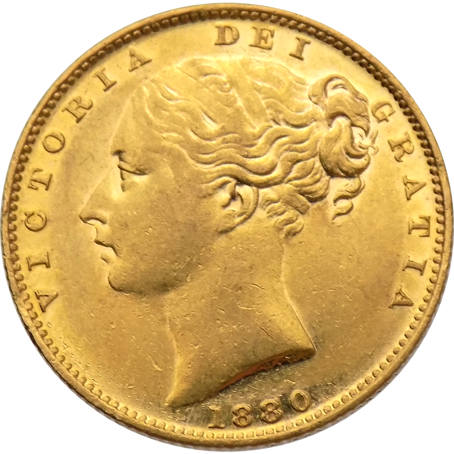 Pre-Owned 1880 Sydney Mint Victoria Young Head 'Shield' Full Sovereign Gold Coin