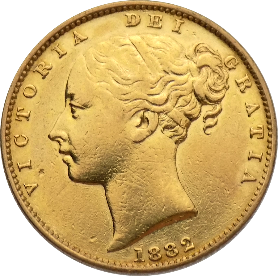 Pre-Owned 1882 Melbourne Mint Victoria Young Head 'Shield' Full Sovereign Gold Coin