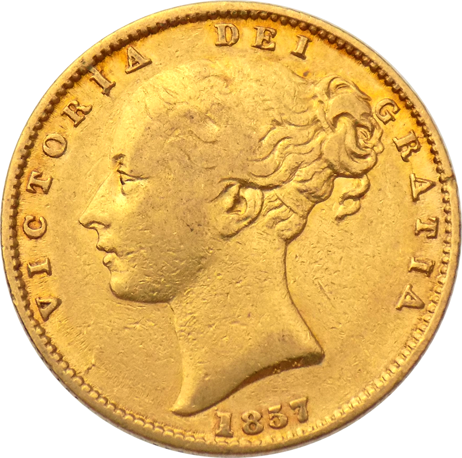Pre-Owned 1857 London Mint Victoria Young Head 'Shield' Full Sovereign Gold Coin