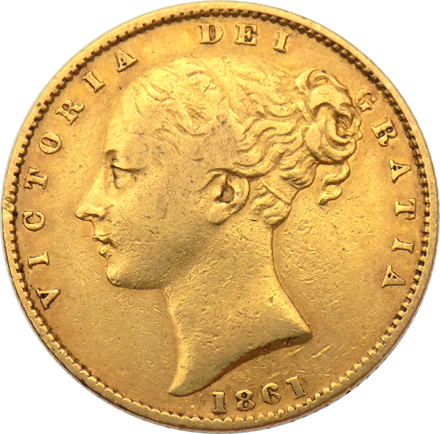 Pre-Owned 1861 London Mint Victoria Young Head 'Shield' Full Sovereign Gold Coin