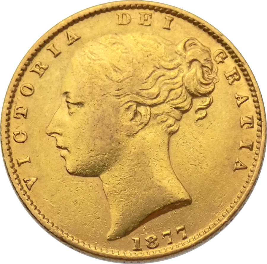 Pre-Owned 1877 Sydney Mint Victoria Young Head 'Shield' Full Sovereign Gold Coin