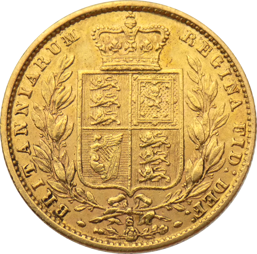 Pre-Owned 1877 Sydney Mint Victoria Young Head 'Shield' Full Sovereign Gold Coin (Image 2)