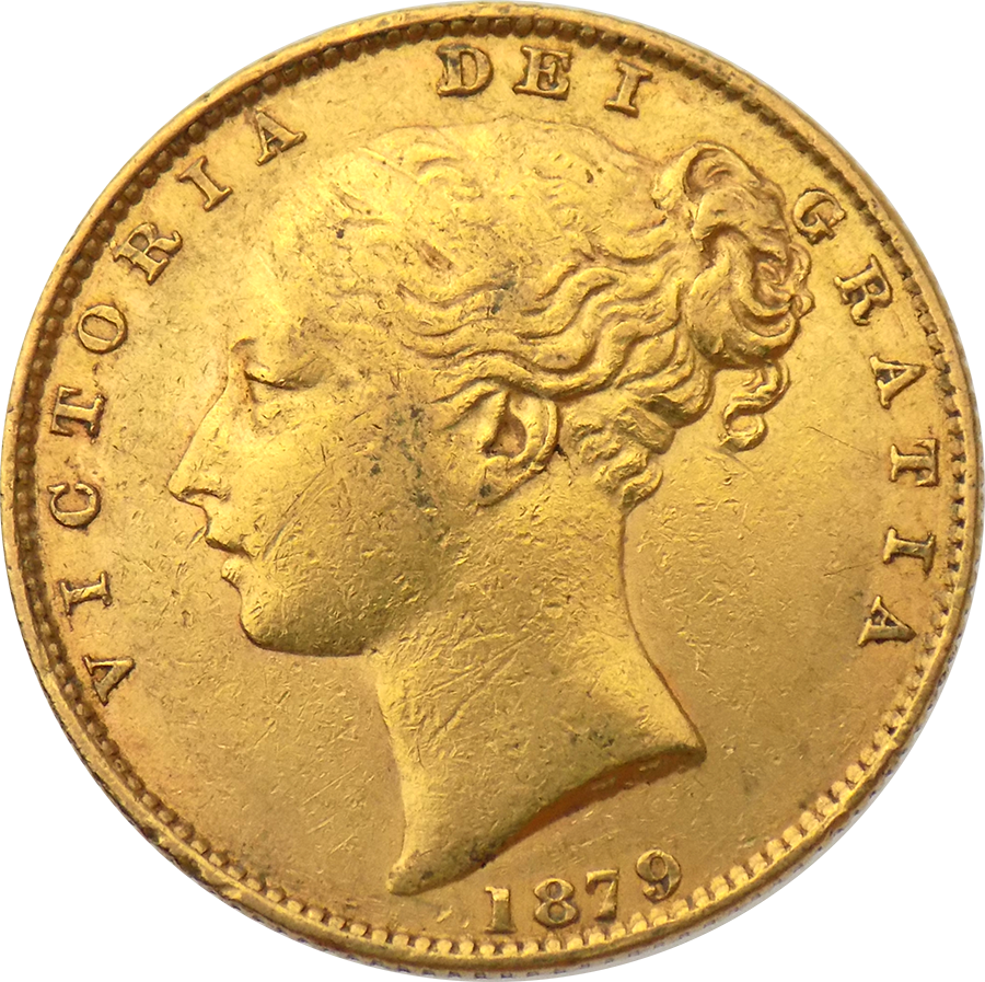 Pre-Owned 1879 Sydney Mint Victoria Young Head 'Shield' Full Sovereign Gold Coin