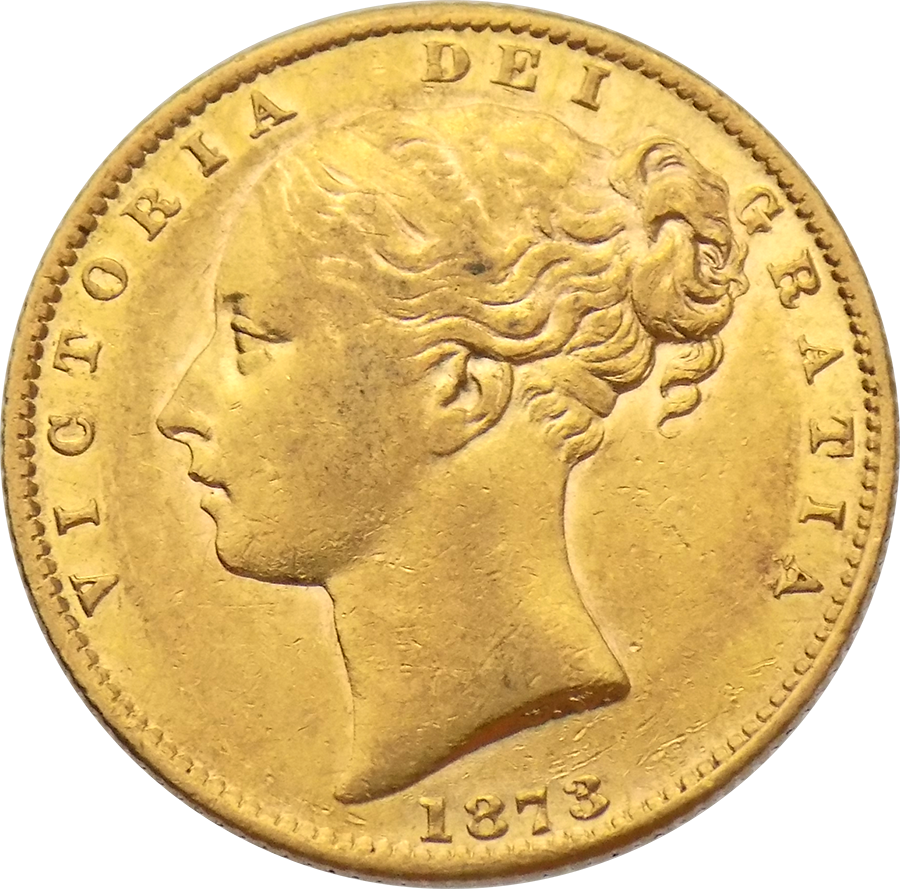 Pre-Owned 1873 Sydney Mint Victoria Young Head 'Shield' Full Sovereign Gold Coin