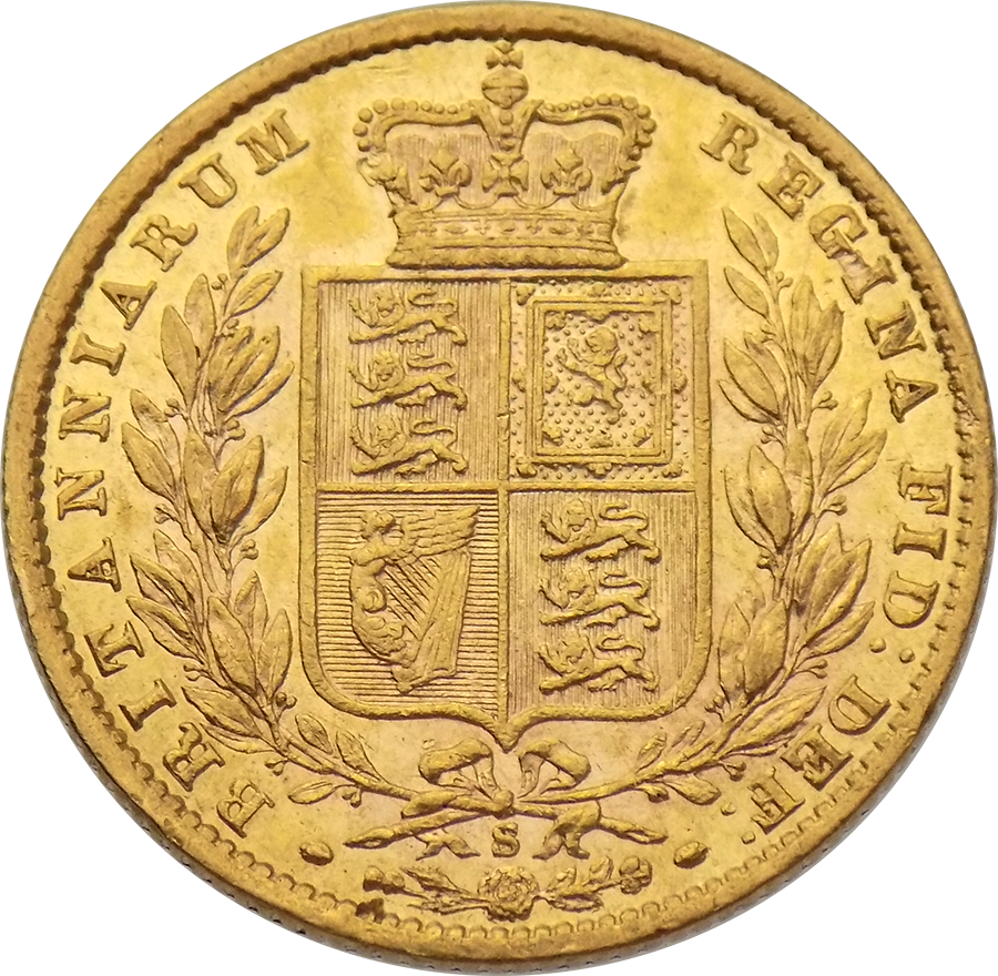 Pre-Owned 1873 Sydney Mint Victoria Young Head 'Shield' Full Sovereign Gold Coin (Image 2)