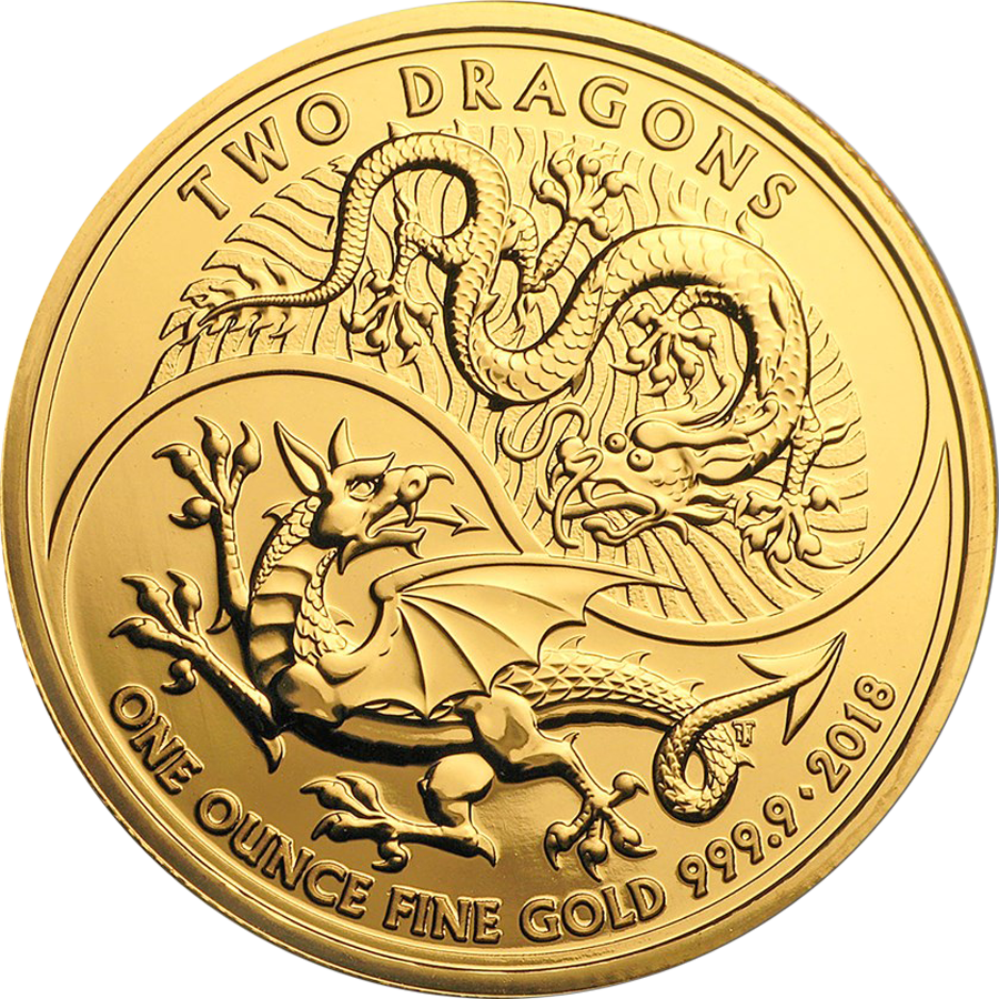 Royal Mint Two Dragon 1oz Gold Coin