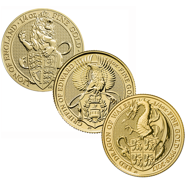 Queen's Beasts 1/4oz Gold Coins - Mixed Designs
