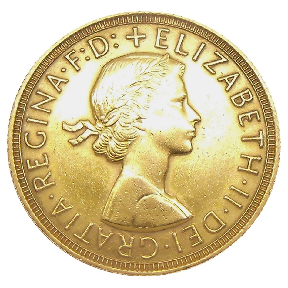 Pre Owned 1958 Uk Full Sovereign Gold Coin Image 1